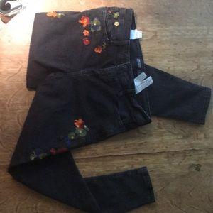 Zara skinny jeans with embroidery